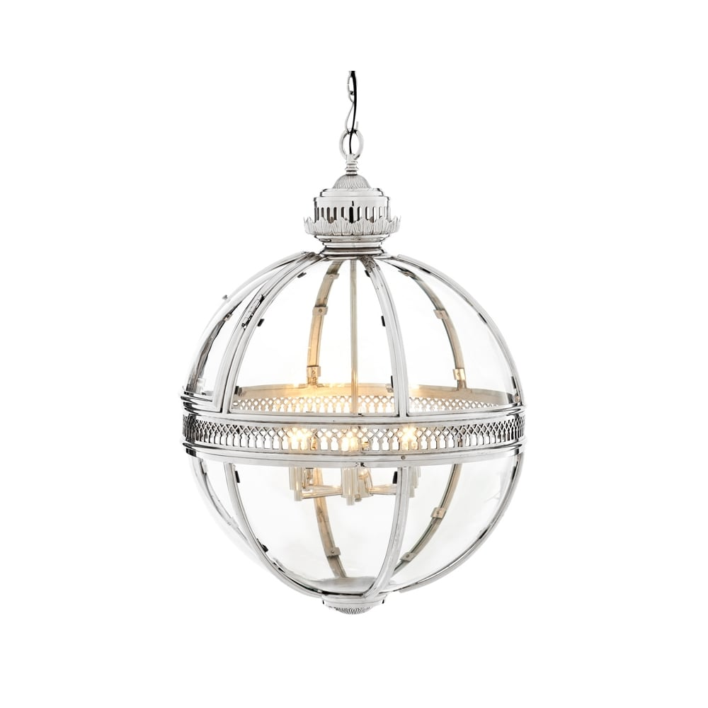 Eichholtz Residential Polished Chrome Ceiling Globe Pendant With Clear Glass Large